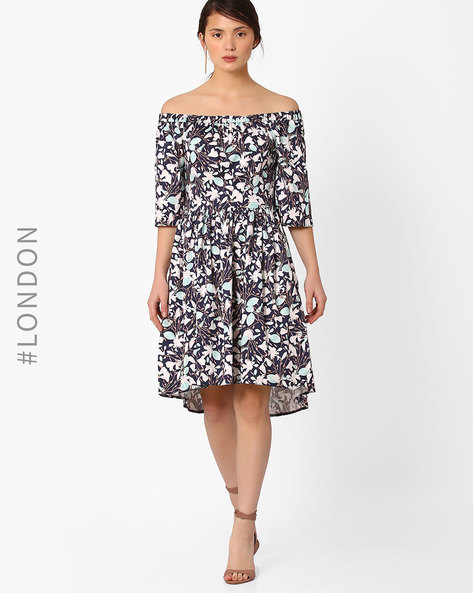 Floral Print Off-Shoulder Dress By Closet London ( Blue )