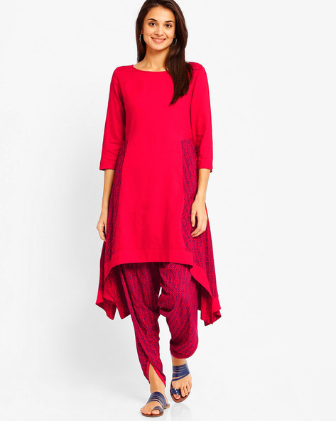 A-line Kurta With Handkerchief Hem By AJIO ( Red )