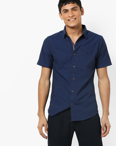 Polka-Dot Print Shirt By UNITED COLORS OF BENETTON ( Blue )