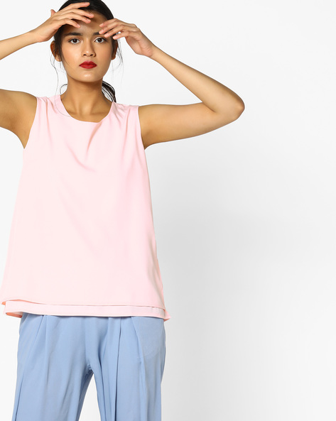 Sleeveless Layered Top By PE WW Work ( Pink )