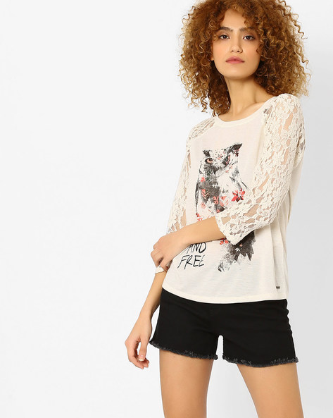 Printed T-shirt With Lace Sleeves By Vero Moda ( Cream )