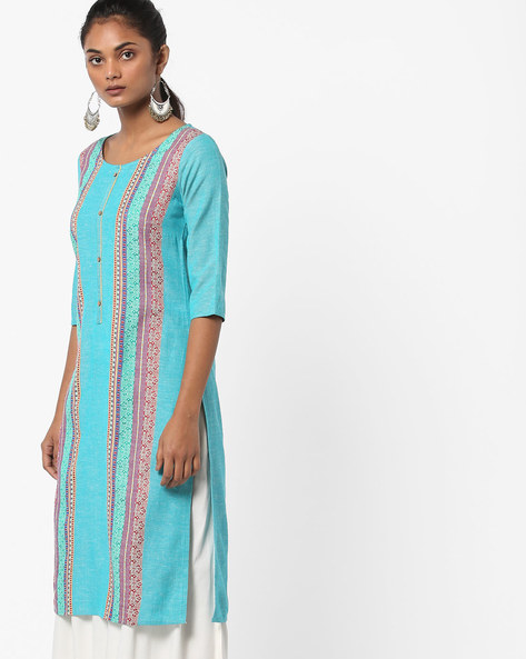 Printed Straight Kurta By AURELIA ( Blue )