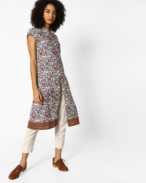 Floral Print Kurta With Front Slit By AJIO ( Offwhite )