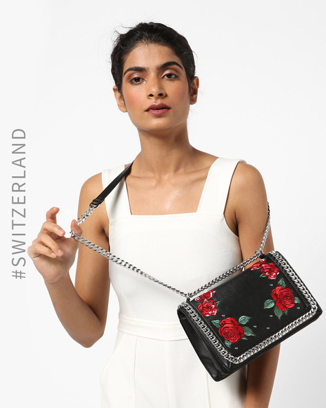 Embellished Cluch With Chain Strap By TALLY WEiJL ( Black )