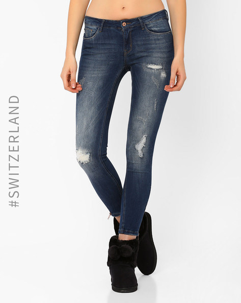 Distressed Skinny Jeans By TALLY WEiJL ( Blue ) - 460014590001