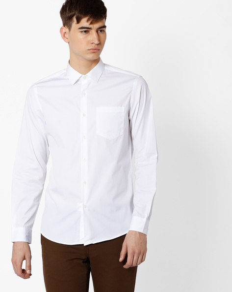 Slim Fit Cotton Shirt By Black Coffee ( White )