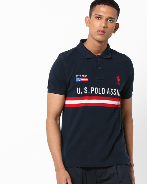 Embroidered Polo T-shirt With Stripes By US POLO ( Navy )