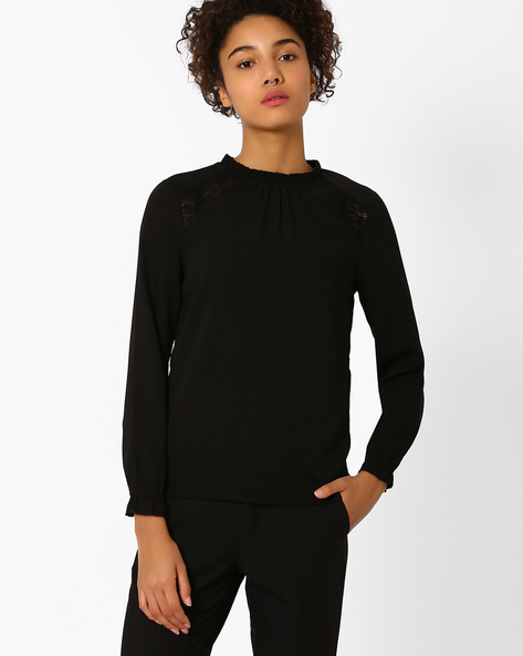 High-Neck Top With Lace Panels By Vero Moda ( Black )