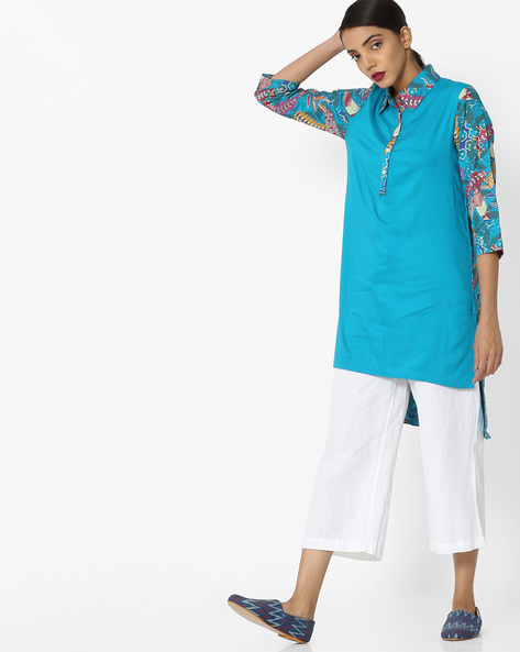 High-Low Tunic With Collar By Akkriti By Pantaloons ( Teal )
