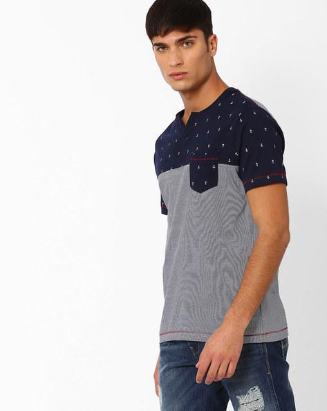 Printed Cut & Sew T-shirt By TEAM SPIRIT ( Navy )