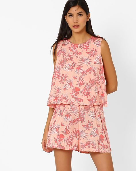 Floral Printed Playsuit By Pepe Jeans ( Red )