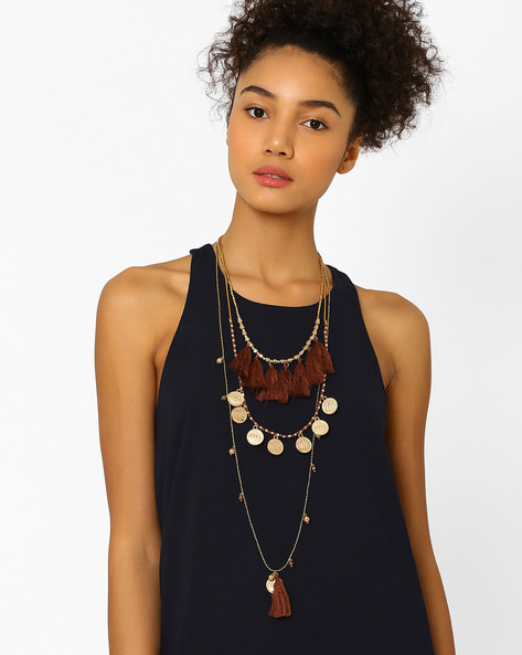 Multi-Stranded Handmade Necklace With Tassels By BLUEBERRY ( Lightbrowngold )