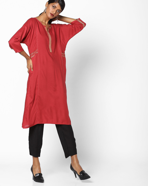 Straight Kurta With Zari Embroidery By Melange By Lifestyle ( Red )