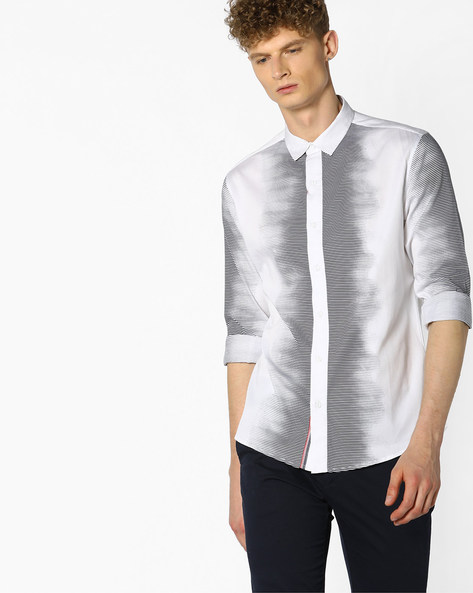 Striped Shirt With Dyed Effect By Atorse ( White )