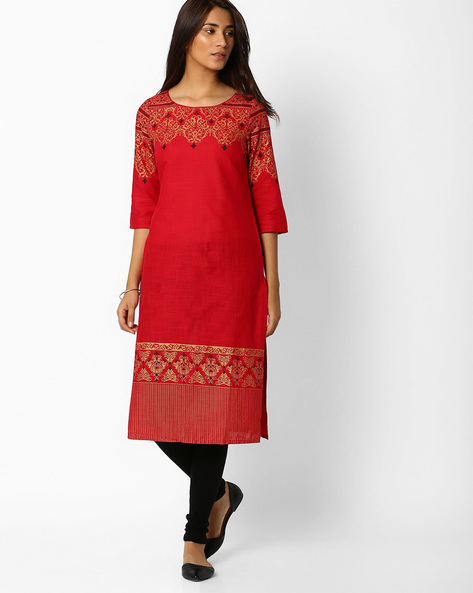 Printed Cotton Straight Kurta By AURELIA ( Red )