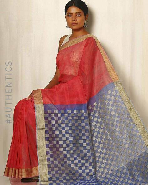 Handwoven Linen Saree With Zari By Indie Picks ( Multicolour )