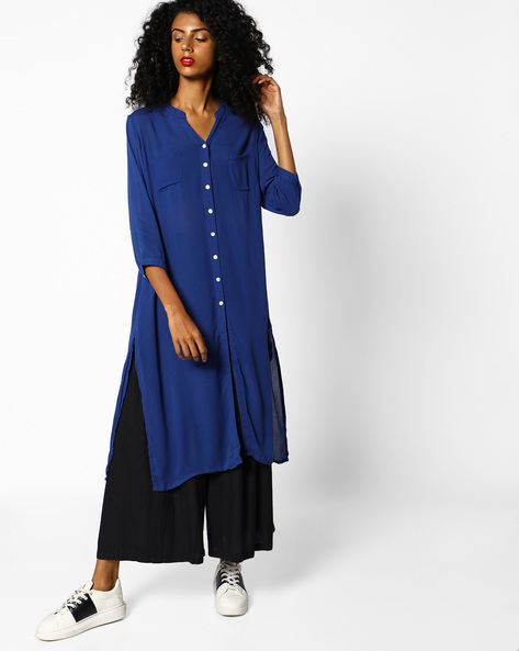 Shirt Kurta With Front Slit By PE IW Casual ( Blue )