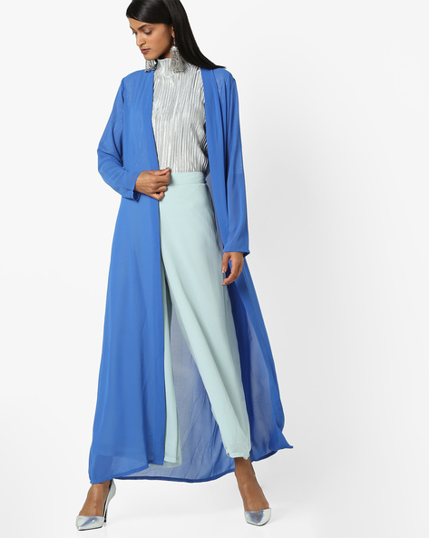 Open-Front Long Shrug By And ( Blue )