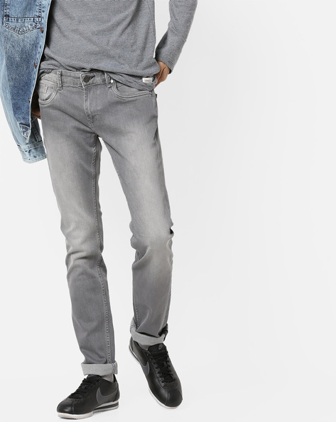 Mid-Rise Mid-Wash Jeans By BASICS ( Grey )