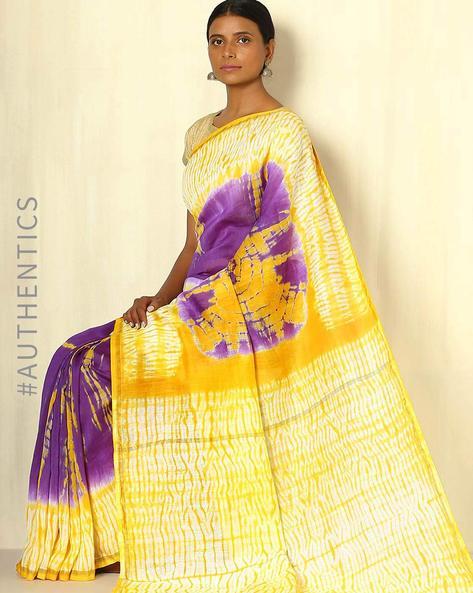 Shibori Tie-Dye Chanderi Saree With Zari Border By Indie Picks ( Multi ) - 460053714001