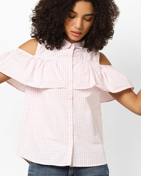 Cold-Shoulder Shirt With Ruffles By DNMX ( Ltpink )