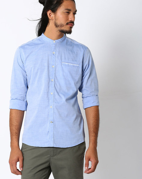 Regular Fit Shirt With Mandarin Collar By NETPLAY ( Blue )