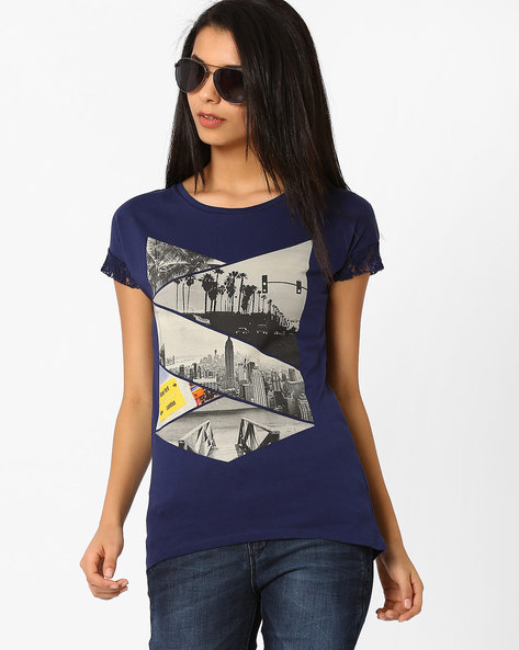 Graphic Print T-shirt By Ajile By Pantaloons ( Navyblue ) - 460020847003