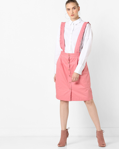 High-Rise Suspender Skirt By AJIO ( Lightpink )