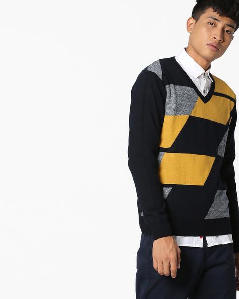 Slim Fit V-neck Colourblock Pullover By NETWORK ( Navy )