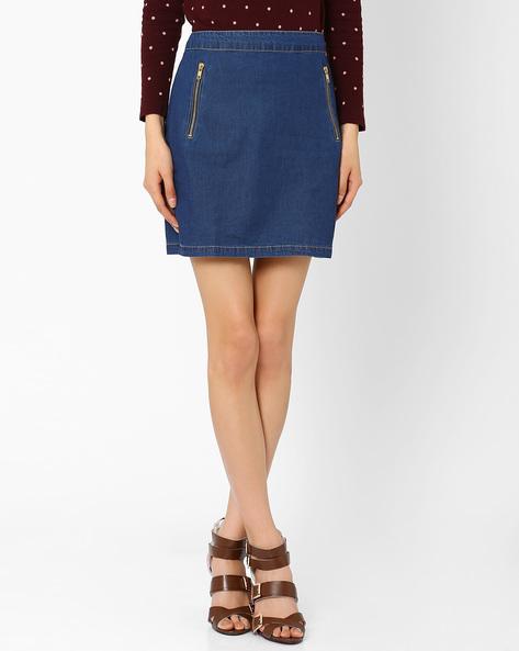 Denim Pencil Skirt By The Vanca ( Blue )