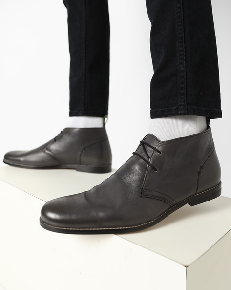 Genuine Leather Formal Shoes With Lace-Ups By Hats Off Accessories ( Grey )