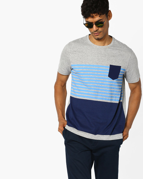 Striped Crew-Neck T-shirt With Patch Pocket By AJIO ( Greymelange )