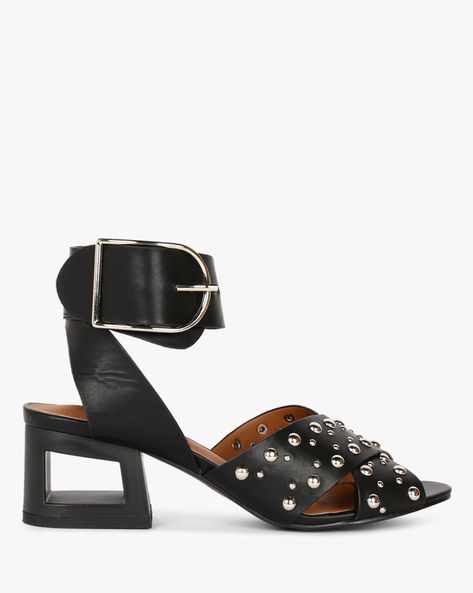 Block Heels With Embellishments By Truffle Collection ( Black )
