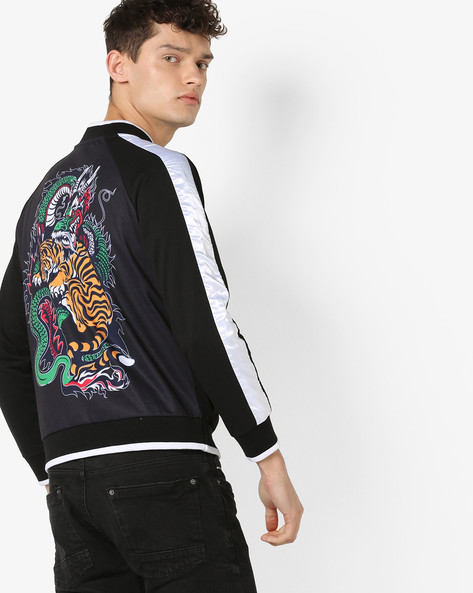 Fleece Panelled Jacket With Printed Back By Garcon ( Black )