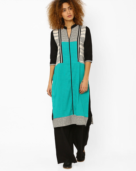 Printed Cotton Straight Kurta By Kifahari ( Teal )