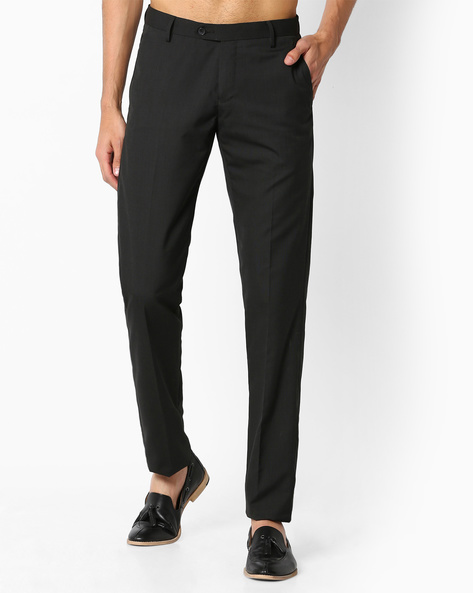 Flat-Front Slim Fit Trousers By VIMAL APPARELS ( Black )