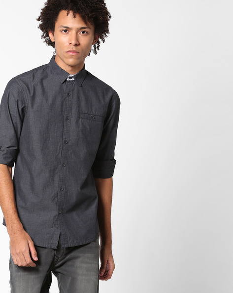 Slim Fit Shirt With Welt Pocket By AJIO ( Grey )