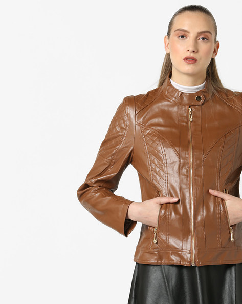 Front-Zip Jacket With Quilted Pattern By The Indian Garage Co ( Tan )