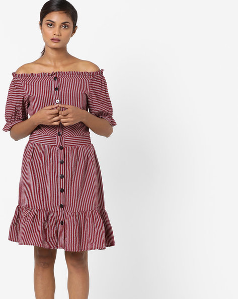 Striped Off-Shoulder Sheath Dress By Rena Love ( Maroon )