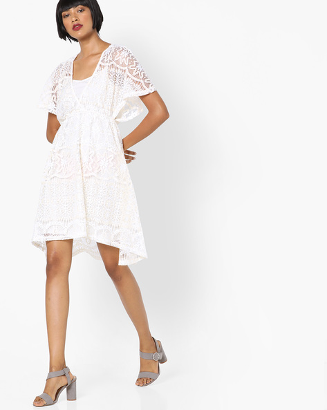 Layered Floral Lace Dress By SAINT TROPEZ ( White )