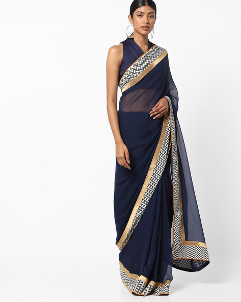Chiffon Saree With Printed Border By Vastrangi ( Navyblue )