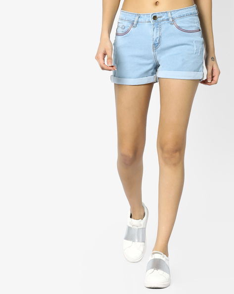 Mid-Rise Denim Shorts By AJIO ( Lightblue )