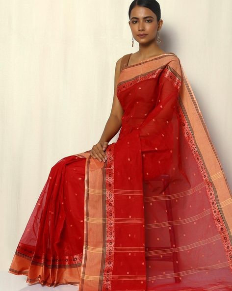 Bengal Handloom Tant Tangail Buti Cotton Saree By Indie Picks ( Red ) - 460093829001