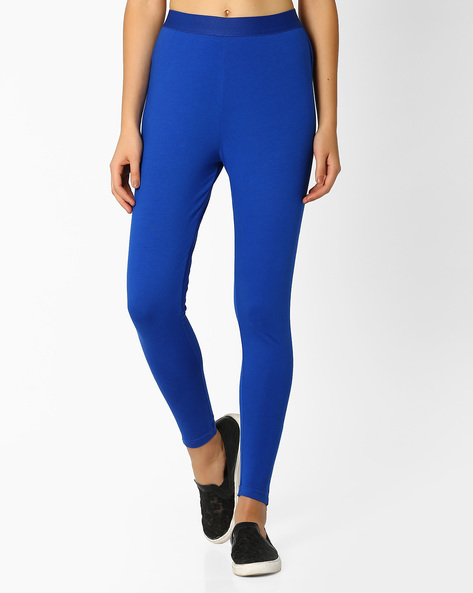Mid-Rise Leggings With Zipped Hems By FUSION ( Blue )