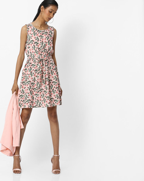 Floral Print Skater Dress With Tie-Up By RIO ( Ltpink )