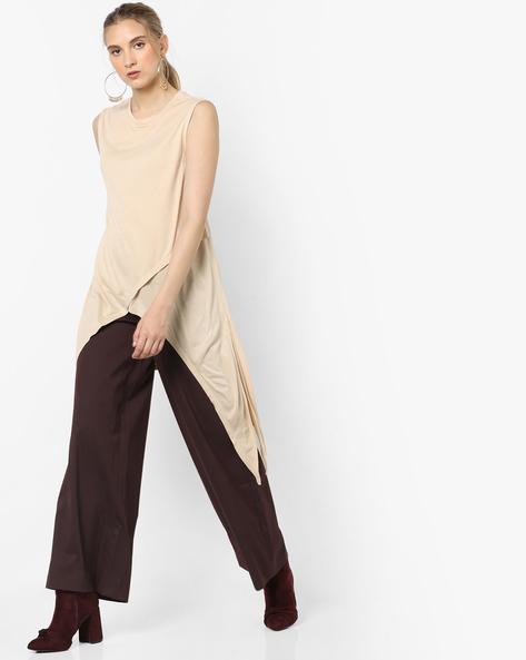 Sleeveless Tunic With Handkerchief Hem By AJIO ( Offwhite )