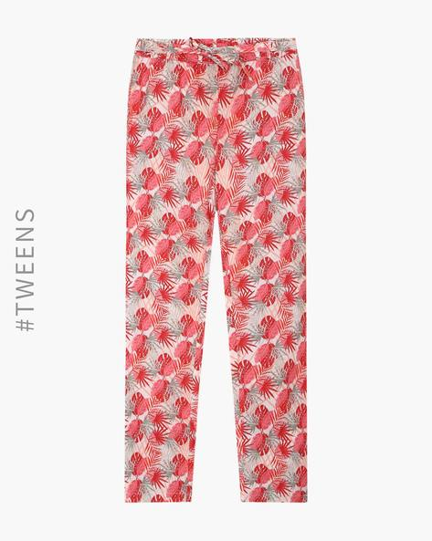 Printed Lounge Pants With Elasticated Waist By AJIO ( Coral )