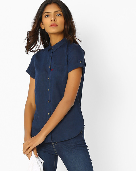 Shirt With Spread Collar By LEVIS ( Blue )