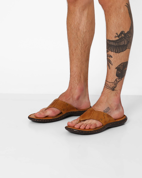 Genuine Leather Thong Strap Flip-Flops By RED TAPE ( Tan )