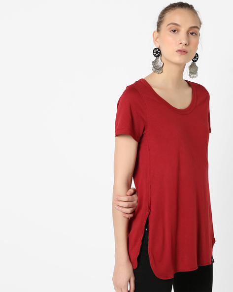 Scoop-Neck T-shirt With Side Slits By SATVA ( Burgundy )